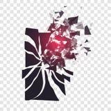 Lo schermo incrinato del telefono si rompe nei pezzi Lo smartphone rotto ha spaccato dall'esplosione su fondo trasparente Esposiz Immagine Stock
