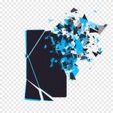 Lo schermo incrinato del telefono si rompe nei pezzi Lo smartphone rotto ha spaccato dall'esplosione su fondo trasparente Esposiz Fotografia Stock