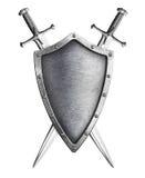 Lo schermo invecchiato del cavaliere del metallo con due ha attraversato le spade isolate su bianco illustrazione vettoriale