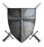 Lo schermo medievale e due del crociato hanno attraversato l'illustrazione isolata spade 3d royalty illustrazione gratis