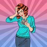 Lo schiocco Art Upset Woman con le carte di credito ha un'emicrania illustrazione vettoriale