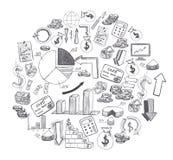Lo schizzo degli elementi disegnati a mano del business plan ha modellato il cerchio isolato su fondo bianco Fotografia Stock