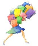 Lo schizzo dell'acquerello della donna con molti sacchetti della spesa su fondo bianco royalty illustrazione gratis