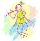 Lo schizzo di krishna di signore con la flauto per invita illustrazione vettoriale
