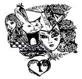 Lo schizzo grafico per il ` s di Alice del novell avventura nel paese delle meraviglie illustrazione di stock