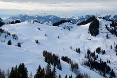 Lo sci pende Wagrain e Alpendorf vicini Immagini Stock Libere da Diritti