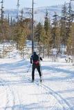 Lo sciatore esegue la corsa con gli sci che attraversa il paese Immagine Stock