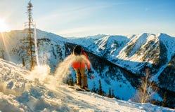 Lo sciatore Freerider discende dalla montagna alla luce della m. Immagine Stock Libera da Diritti