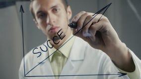 Lo scienziato dell'uomo disegna la formula per successo nell'affare stock footage