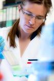 Lo scienziato lavora in laboratorio moderno Fotografia Stock Libera da Diritti