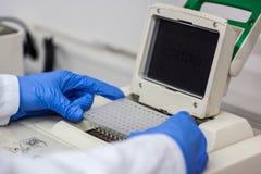 Lo scienziato o il ricercatore o lo studente di phd hanno messo i campioni del DNA nella PCR Immagini Stock Libere da Diritti
