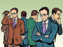 Lo scienziato ritiene a risolvere confrontare le idee di problema illustrazione di stock