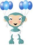 Lo scimpanzé del bambino balloons l'azzurro Fotografie Stock