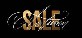 Lo scintillio dell'oro di Autumn Sale firma dentro il fondo nero Illustrazione di vettore royalty illustrazione gratis