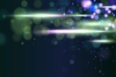 Lo scintillio dorato circolare defocused cosmico astratto della scintilla del bokeh accende il fondo Natale magico dello spazio D illustrazione di stock