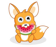 Lo scoiattolo del fumetto sta mangiando l'anguria Immagine Stock Libera da Diritti
