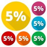 Lo sconto cinque le icone circolari di 5 per cento ha messo con ombra lunga Fotografie Stock Libere da Diritti