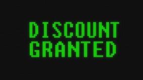 Lo sconto verde infiammante ha assegnato il testo di parola sull'animazione senza cuciture nera digitale del ciclo dello schermo  royalty illustrazione gratis