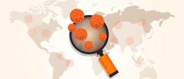 Lo scoppio del virus ha sparso la pandemia intorno alla mappa di mondo royalty illustrazione gratis
