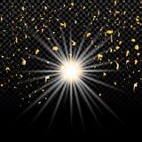 Lo scoppio di nuova stella raggi alla pendenza del fondo nella cellula Illustrazione dei detriti di spazio Fotografia Stock