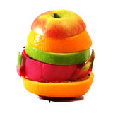 Lo scorrevole creativo compone la frutta dell'estate mista con Immagini Stock Libere da Diritti