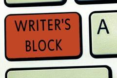 Lo scrittore s del testo di scrittura di parola è blocco Concetto di affari per lo stato di non potere pensare a cui scrivere immagine stock libera da diritti
