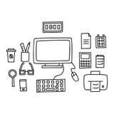Lo scrittorio con un computer o il posto di lavoro in ufficio disegnato a mano scarabocchia lo stile Illustrazione di vettore Immagini Stock