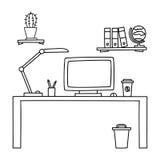 Lo scrittorio con un computer o il posto di lavoro in ufficio disegnato a mano scarabocchia lo stile Illustrazione di vettore Immagini Stock Libere da Diritti