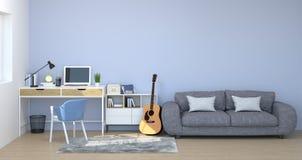 Lo scrittorio, gabinetto, materiali di apprendimento, taccuino, sofà davanti alla parete svuota i precedenti di interior design d illustrazione di stock