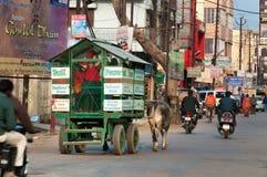 Lo scuolabus è carretto di manzo con gli scolari sulla strada in Vrindavan Immagine Stock Libera da Diritti