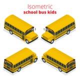 Lo scuolabus giallo isometrico scherza l'illustrazione di vettore isolata su fondo bianco Fotografia Stock Libera da Diritti