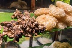 Lo shitake secco alto chiuso ed il tremella si espandono rapidamente, ingredienti per n Fotografie Stock Libere da Diritti