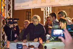 Lo showman ed il politico italiani Beppe Grillo durante il suo eleggono Immagine Stock