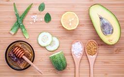 Lo skincare e l'ente casalinghi sfrega con il avoca naturale degli ingredienti Immagine Stock Libera da Diritti