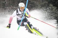 Lo slalom degli uomini del trofeo 2019 della regina della neve fotografia stock libera da diritti