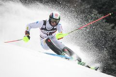 Lo slalom degli uomini del trofeo 2019 della regina della neve immagini stock libere da diritti