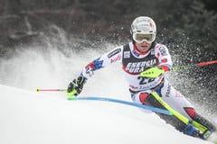 Lo slalom degli uomini del trofeo 2019 della regina della neve immagini stock