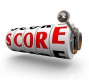 Lo slot machine di parola del punteggio compone l'importo di conquista totale illustrazione di stock