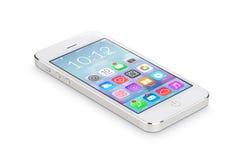 Lo smartphone mobile bianco con le icone dell'applicazione si trova sul surfa Fotografia Stock Libera da Diritti