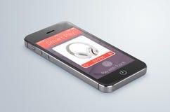 Lo smartphone mobile nero con l'applicazione astuta di paga si trova sulla s Fotografia Stock Libera da Diritti