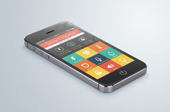Lo smartphone mobile nero con l'applicazione domestica astuta si trova sul Immagini Stock Libere da Diritti