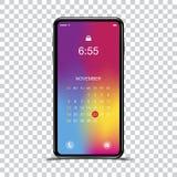 Lo smartphone realistico del modello con una pendenza e lo schermo fissano un fondo trasparente Telefoni con l'insieme delle icon Immagini Stock