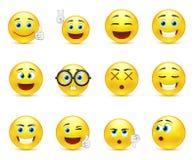 Lo smiley affronta le immagini che esprimono le emozioni differenti Fotografia Stock Libera da Diritti