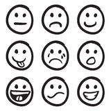 Lo smiley del fumetto affronta i Doodles Fotografia Stock