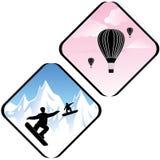 Lo snowboard che saltano in alte montagne e l'aria si rilassano le icone Immagini Stock Libere da Diritti