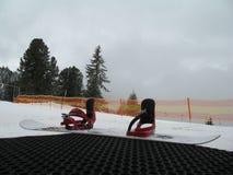 Lo snowboard con i grippaggi ha messo sopra il punto con il Mountain View della neve Fotografia Stock