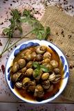 Lo Spagnolo caracoles la salsa dell'en, lumache cucinate in salsa fotografie stock libere da diritti