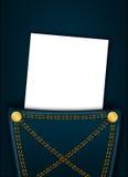 Lo spazio in bianco bianco con il posto per testo in jeans intasca Immagini Stock