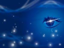 Lo spazio della stella significa l'occhio umano e l'universo Fotografie Stock Libere da Diritti
