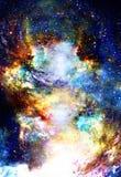 Lo spazio e le stelle cosmici, colorano il fondo astratto cosmico illustrazione vettoriale